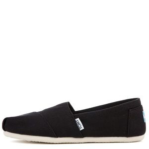 Toms Classic Womens Black Canvas Slip On Shoes
